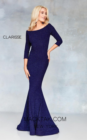 Clarisse 3853 Navy Front Prom Dress