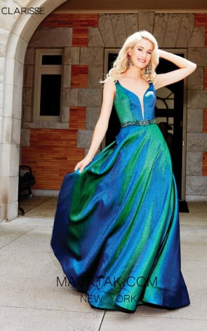 Clarisse 3859 Iridescent Green Front Prom Dress