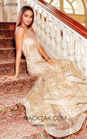 Clarisse 3862 Gold Front Prom Dress