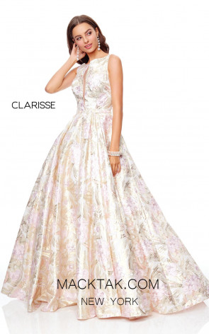 Clarisse 3868 Pink Gold Front Prom Dress