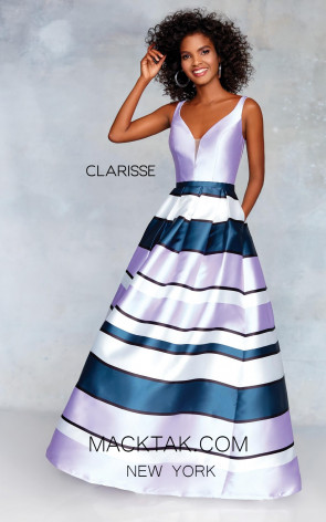 Clarisse 3878 Lilac Print Front Prom Dress