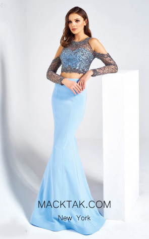 Dressing Room 1354 Baby Blue Front Evening Dress