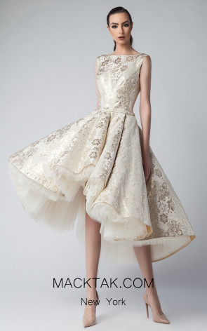Edward Arsouni FW0221 Champagne Front Dress