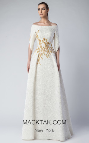Edward Arsouni FW0227 Ivory Gold Front Dress