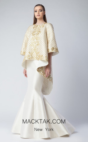 Edward Arsouni FW0233 Ivory Gold Front Dress