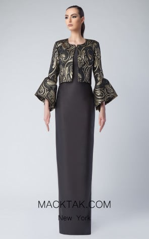 Edward Arsouni FW0240 Black Gold Front Dress