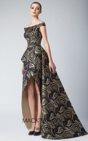 Edward Arsouni FW0241 Gold Black Front Dress