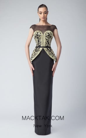 Edward Arsouni FW0242 Black Gold Front Dress