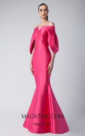 Edward Arsouni FW0259 Fuchsia Front Dress