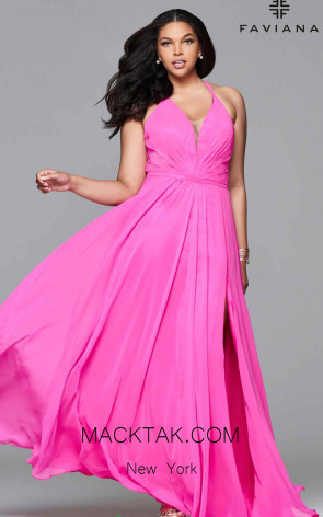 Faviana 9397 Cherry Pink Front Prom Dress