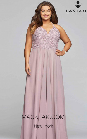 Faviana 9445 Mauve Front Prom Dress