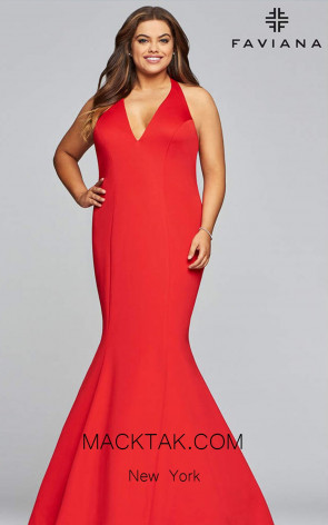 Faviana 9454 Red Front Prom Dress