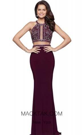 Faviana 10019 Bordeaux Front Evening Dress