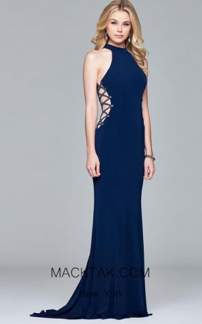 Faviana 7931 Navy Front Evening Dress