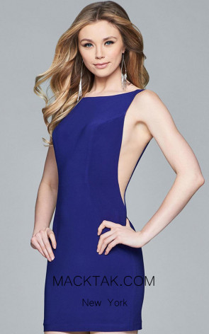 Faviana 8055 Navy Front Evening Dress