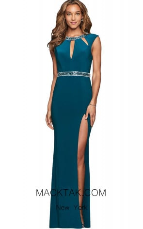 Faviana S10009 Forest Green Front Evening Dress