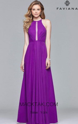 Faviana S10025 Violet Front Evening Dress