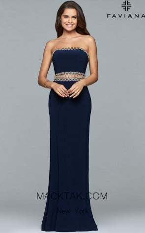 Faviana S10027 Navy Front Evening Dress
