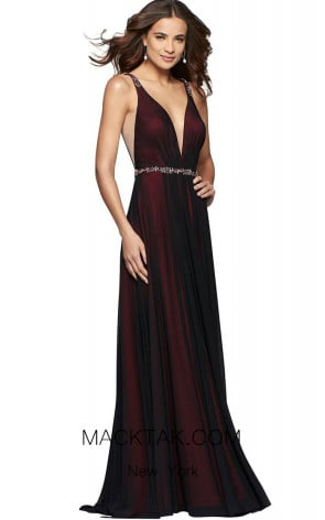 Faviana S10040 Black Red Front Evening Dress