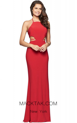 Faviana S10058 Red Front Evening Dress