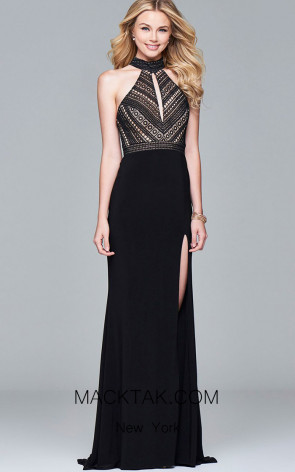 Faviana S7932 Black Nude Front Evening Dress