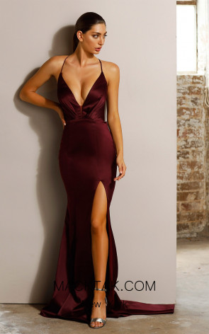 Jador JX1101 Burgundy Front Dress