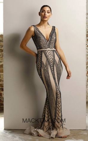 Jadore JX1026 Black Nude Front Dress
