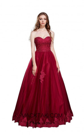 Jadore J12017 Burgundy Front Dress