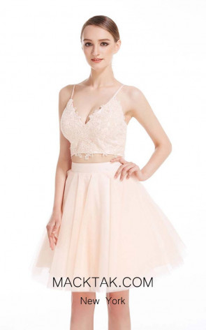 Jadore J12065 Peach Front Dress
