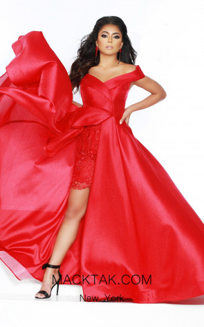 Jasz Couture 6409 Red Front Dress