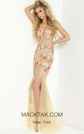 Jasz Couture 6411 Nude Multi Front Dress