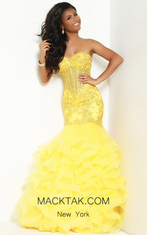 Jasz Couture 6430 Yellow Front Dress