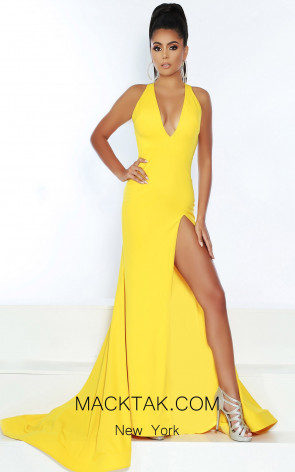 Jasz Couture 6442 Bright Yellow Front Dress