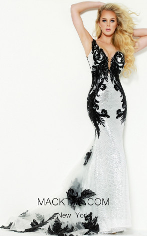 Jasz Couture 6450 Black Silver Front Dress