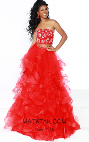 Jasz Couture 6460 Red Front Dress