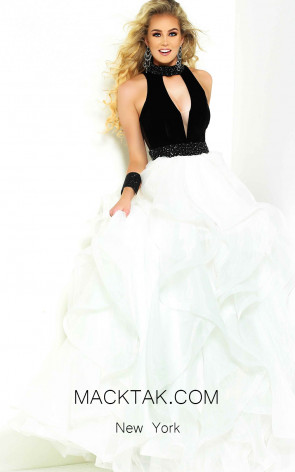 Jasz Couture 6465 Black White Front Dress
