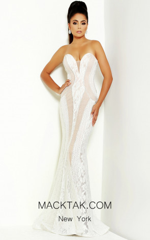 Jasz Couture 6478 Ivory Silver Front Dress