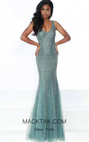 Jasz Couture 6493 Sage Mercury Front Dress