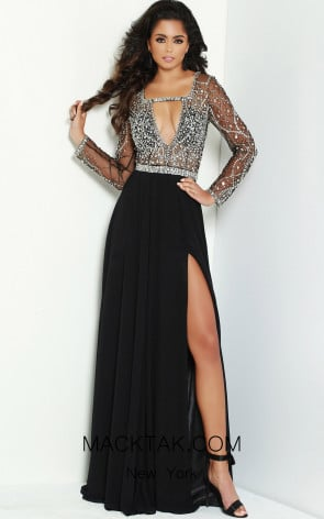 Jasz Couture 6495 Black Front Dress