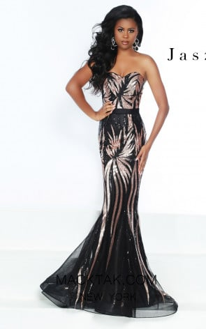 Jasz Couture 6499 Black Rose Front Prom Dress