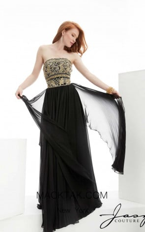 Jasz Couture 5915 Black Front Evening Dress
