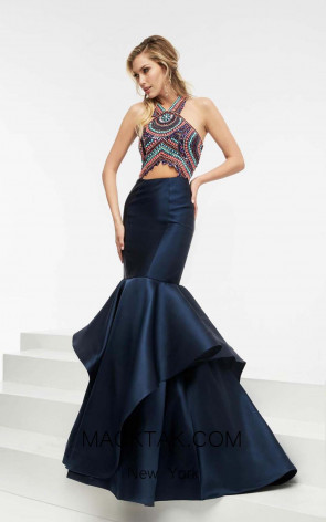 Jasz Couture 5934 Navy Multi Front Evening Dress