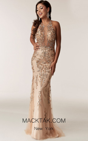 Jasz Couture 6295 Nude Front  Evening Dress