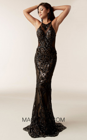 Jasz Couture 6302 Black Front Evening Dress