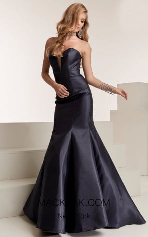 Jasz Couture 6305 Navy Front Evening Dress