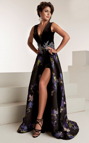 Jasz Couture 6308 Black Multi Front Evening Dress