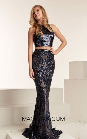 Jasz Couture 6309 Navy Front Evening Dress