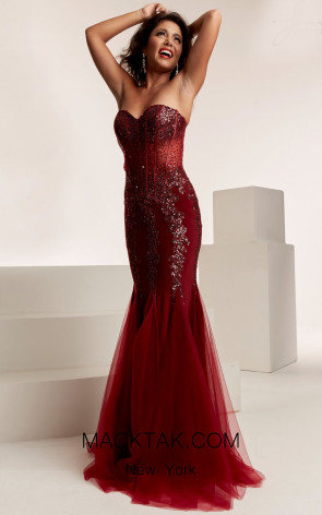 Jasz Couture 6317 Wine Front Evening Dress