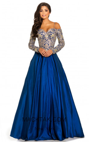 Johnathan Kayne 8020 Royal Gold Front Dress