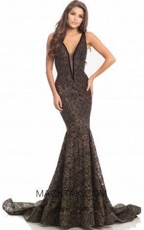 Johnathan Kayne 8218 Black Gold Front Dress